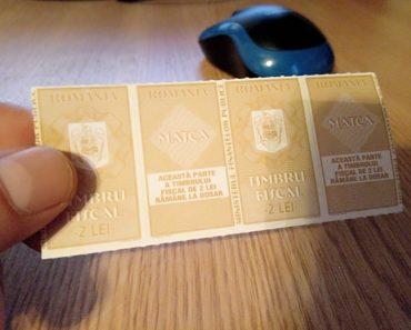 Timbre fiscale de 2 lei cumpărate de la poștă. Unde se mai găsesc timbre fiscale