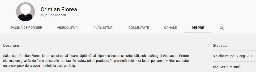 Statistici Canal YouTube Cristian Florea