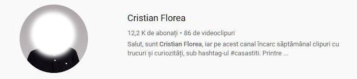 Statistici Canal de YouTube - Cristian Florea