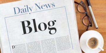 Blog headlined newspaper on the table